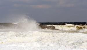 Wave splashing on the ice